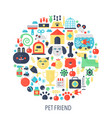 pet friend flat infographics icons in circle vector image