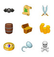 pirate adventure icons set cartoon style vector image vector image