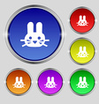 Rabbit icon sign Round symbol on bright colourful vector image vector image