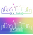 raleigh skyline colorful linear style editable vector image