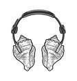 sea shell headphones sketch vector image vector image