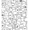 seamless doodle creatures vector image vector image