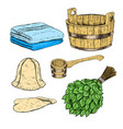 set for sauna hand drawn items for bath vector image