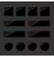 Set of black shiny web buttons with colored lines vector image vector image