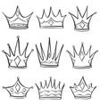 sketch crown doodle set hand draw vector image vector image