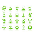 sprout green silhouette icons set vector image