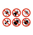 stop insects tick bugs and mosquito silhouettes vector image
