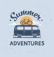 summer adventures surf bus bike retro surfing vector image vector image