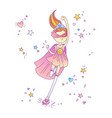 superhero princess little teen girl as a vector image