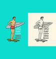 surfer rides waves on a board summer surf vector image vector image