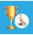 surfer riding wave trophy sport design vector image