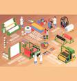 textile factory isometric flowchart vector image vector image