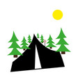 trees and sun road sign on white background vector image vector image