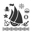 vintage marine icons set with ship starfish anchor vector image vector image