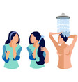 woman caring for body skin hair in minimalist vector image vector image