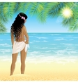 Young woman stands on the beach at sunset time vector image vector image