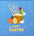happy easter with egg grass flower vector image