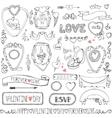 Valentines daywedding framesicon ribbon decor vector image