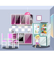 girl near refrigerator thinking what to eat vector image