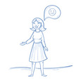 woman thinking positive smile happy thought vector image