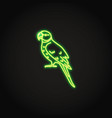 alexandrine parrot icon in glowing neon style vector image vector image