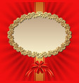 background with red bow and golden frame vector image