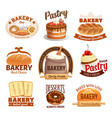 bakery products labels bread sweet desserts vector image