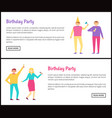 birthday party posters isolated on white backdrop vector image vector image