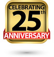 celebrating 25th years anniversary gold label vector image