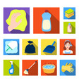 cleaning and maid flat icons in set collection for vector image vector image