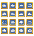 cloud icons set blue square vector image vector image