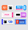 coupon template design voucher icon design vector image vector image