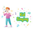 cute boy singing vector image vector image