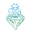 degraded line female lion animal in float island vector image vector image