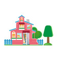 doll house with ground and fence around vector image
