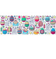 easter elements arranged in strip colorful vector image