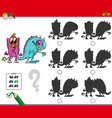 educational shadow activity with monsters vector image vector image
