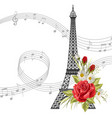 eiffel tower with flowers and music notes isolated vector image vector image