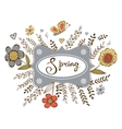 Elegant spring card with a word Spring in a frame vector image