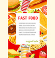 fast food poster of snacks and meals vector image vector image
