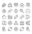 finance and money outline icons set vector image vector image