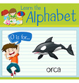 Flashcard letter O is for orca vector image