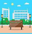 flat style blooming summer cityscape with bench vector image