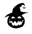 halloween of scary pumpkin jack face in witc vector image