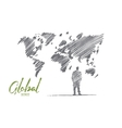 Hand drawn businessman standing at big world map vector image vector image