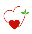 Hearts with leaves gathered in one place vector image vector image