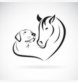 horse and doglabrador on white background pet vector image vector image