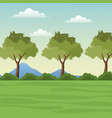 landscape tree mountain grass vector image vector image