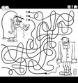 maze with evil scientist and zombie coloring book vector image vector image