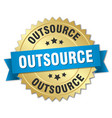 outsource 3d gold badge with blue ribbon vector image vector image